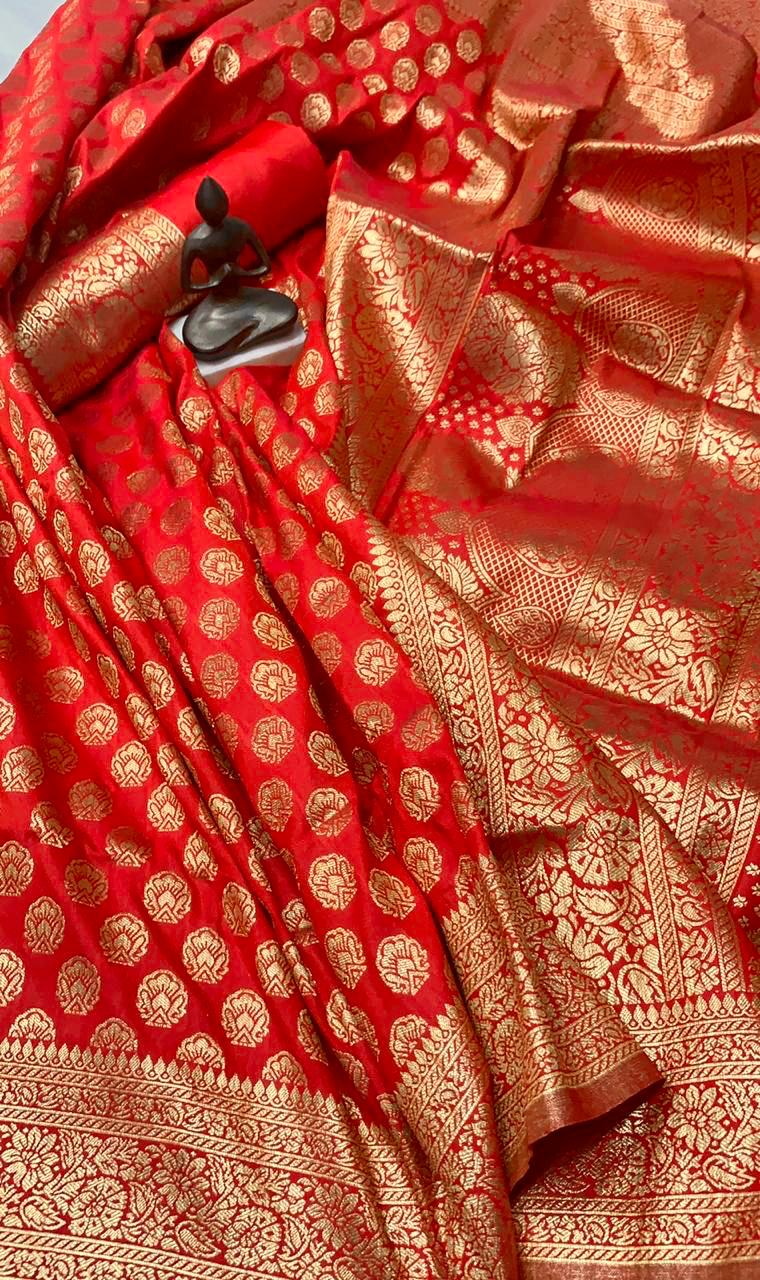 Red Banarasi Silk Minakari Weaving New Saree Collection Online Shopping