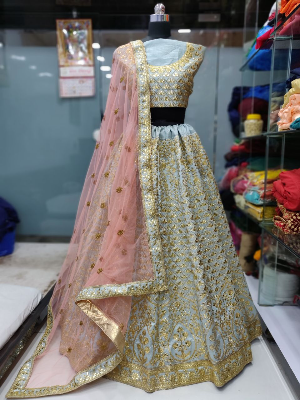 Pastel Blue Mulberry Silk Embroidery Beautiful Wedding Lehengas
