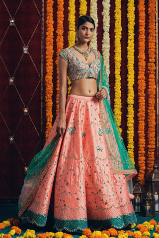 Orange Banarasi Indian Wear Lengha Choli Fashion Dress