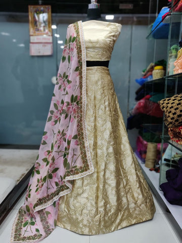 Beige Malai Satin Embroidered New Wedding Dresses Lehenga Choli