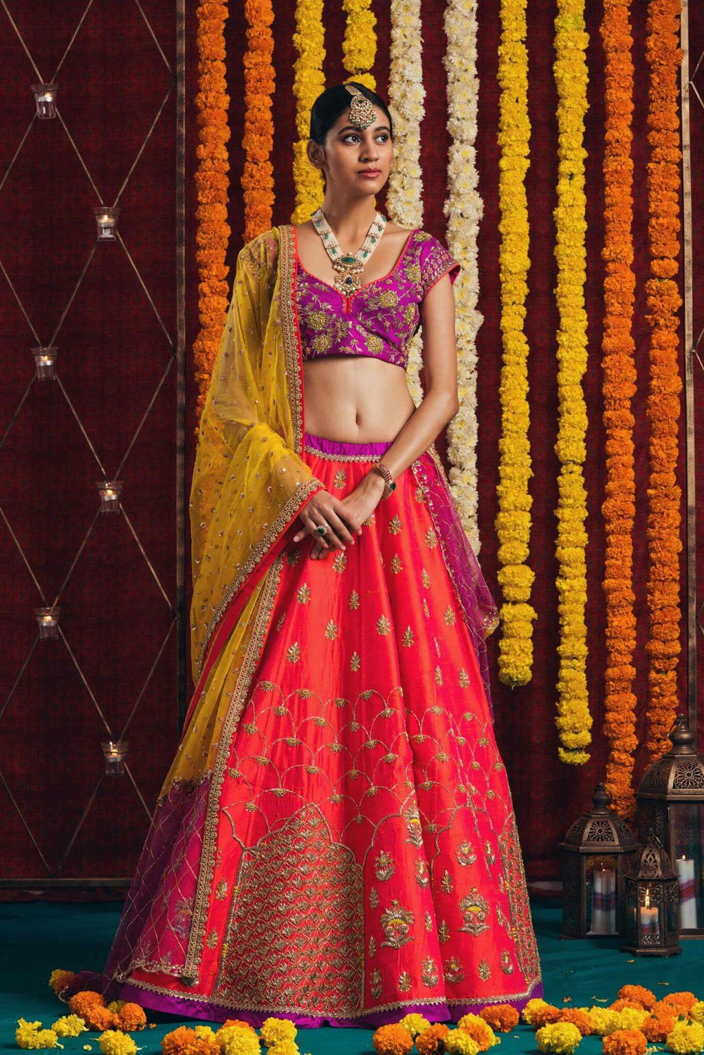 Orange Banarasi Embroidered Latest Lehenga Designs For Party Wear