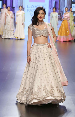 Shruti Haasan Cream Banarasi Silk Lehenga Choli Bollywood Replicas