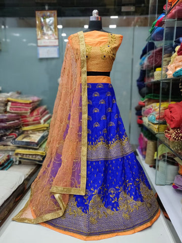 Blue Banarasi Embroidered Online Shopping Of Ghagra Choli