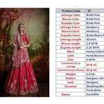 Pink Mulberry Silk Embroidered Indian Wedding Ghagra Choli