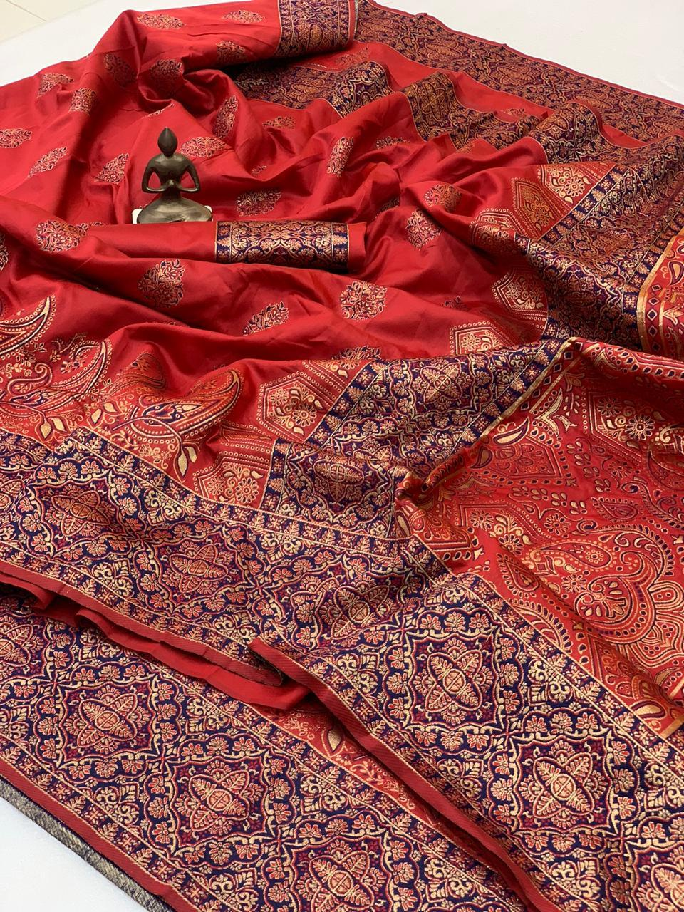 Dark Red Banarasi Silk Minakari Weaving Sarees In India With Price