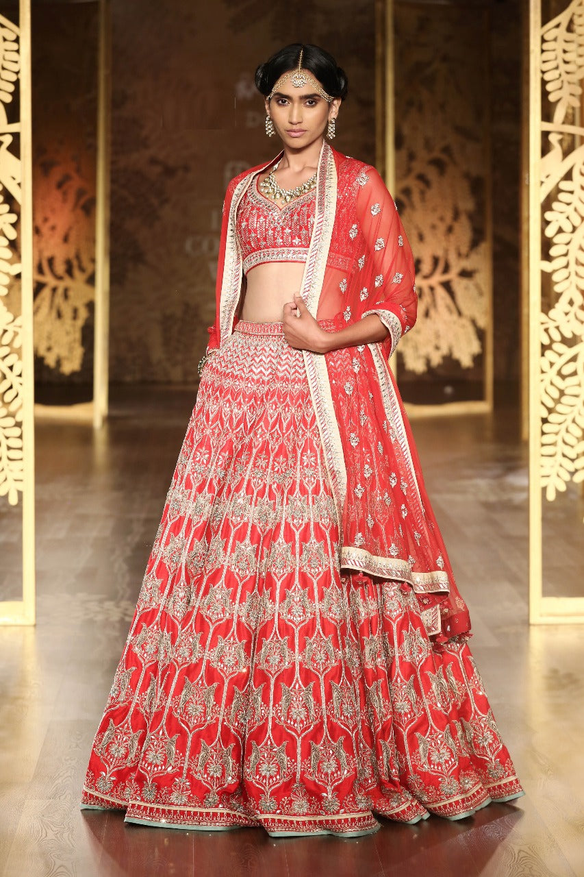 Attractive Red Silk Party Dresses Online Shopping Sites For Lehenga