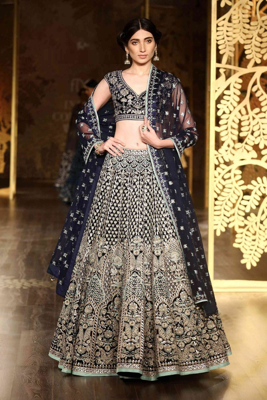 122e1a918e Carbon Blue Silk Lehenga Blouse Online Indian Wedding Dress ...