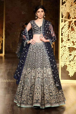 Carbon Blue Silk Lehenga Blouse Online Indian Wedding Dress Shopping