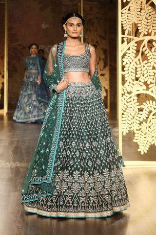 Teal Malai Satin Lehenga Suit Indian Fashion Online Shopping-India