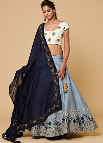 Bluish Gray Mulberry Silk Lehenga Choli Designs For Wedding