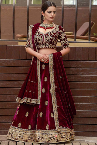 Elegant Maroon Velvet Wedding Lehenga Choli Marriage Dresses Online