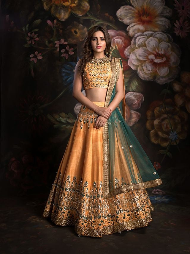 Light Orange Chennai Silk Latest Design Online Shopping For Wedding