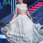 Grey Georgette Ruffle New Indian Lehenga Choli Designs