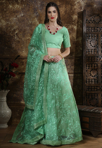 Light Green Embroidered Tissue  Party Wear Lehenga Choli Online Shopping