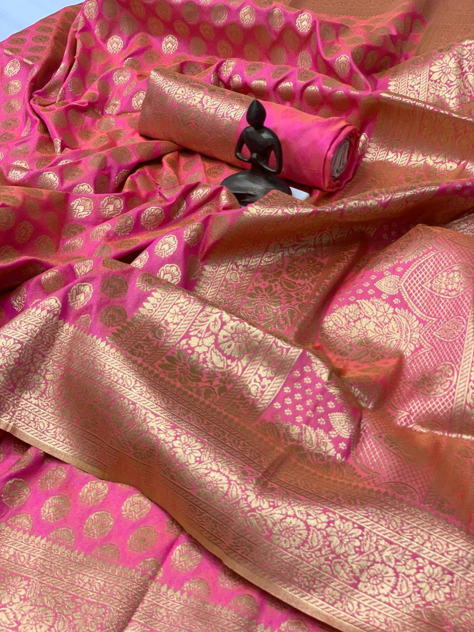 Pink Banarasi Silk Minakari Weaving Best Online Saree Shopping Sites