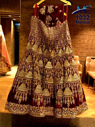Maroon  Embroidery Wedding Dress Online Shopping For Designer Lehengas