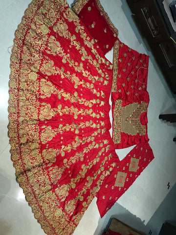 Red French Crepe Bridal Lehengas Online With Price