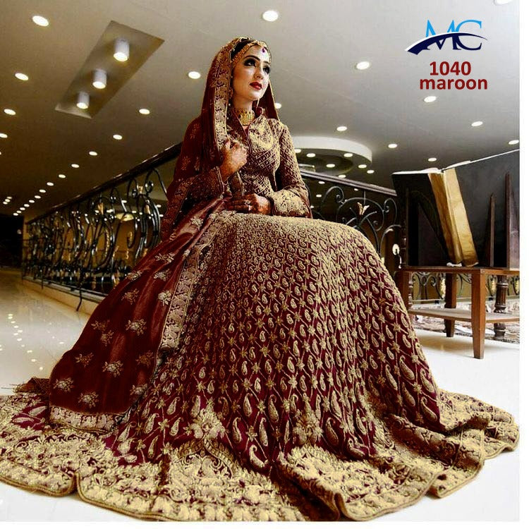 3137470398 Maroon French Crepe Embroidered Beautiful Indian Bridal Wear Lehengas