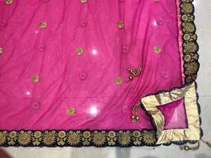 Navy Blue Velvet Embroidered Bridal Beautiful Ghagra Choli Online