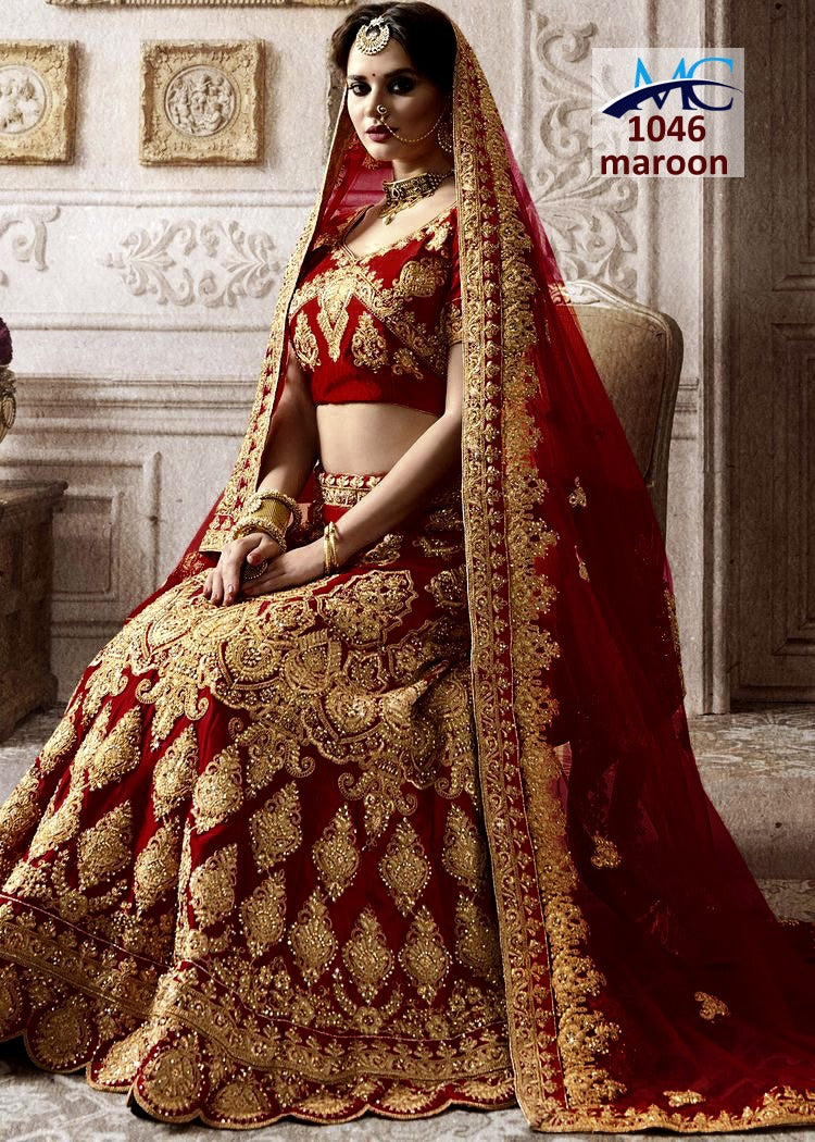 Maroon Embroidered Silk Low Price Bridal Lehengas Online Shopping India