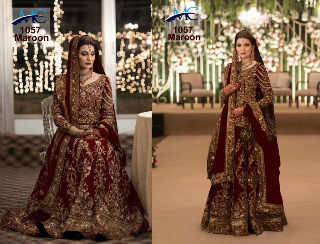 Embroidered Maroon Wedding Dresses Long Choli Design For Lehenga