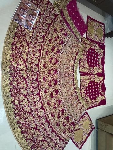 Magenta Velvet Heavy Embroidery Work Online Bridal Lehenga Shopping In India