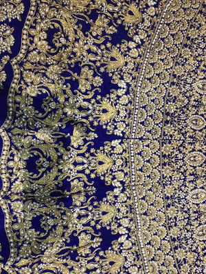 Royal Blue Velvet Heavy Embroidery Work Indian Bridal Lehenga With Price