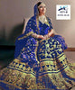 Royal Blue Velvet Embroidered Bridal Ghagra Choli Indian Dresses