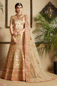 Beige Embroidered Satin Indian Bridal Wedding Lehengas Online