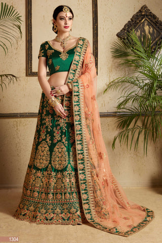 Dark Green Embroidered Satin Beautiful Bridal Lehenag Choli Online