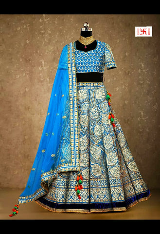 Blue Kerela Silk Embroidered Wedding Lehenga Designs With Price