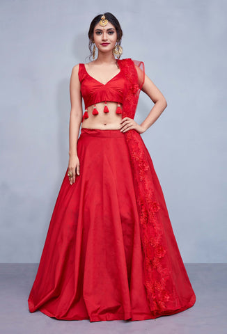 Red Taffeta Silk Sleeveless Indian Dress Simple Chaniya Choli