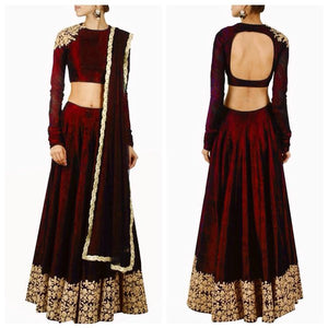 Elegant Maroon Banglori Bollywood New Indian Lehenga Designs ,Indian Dresses - 1