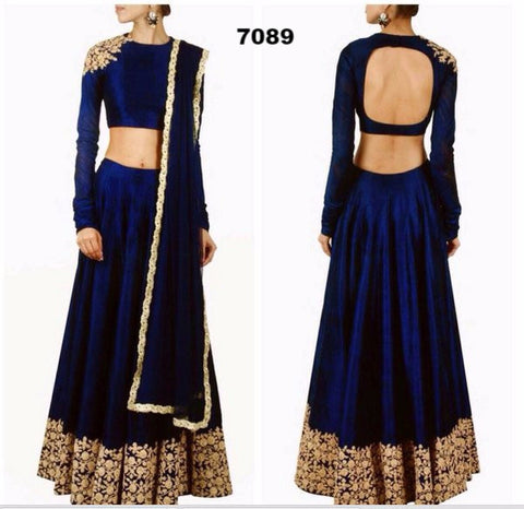 Beautiful Blue Silk Bollywood Lengha Choli Online ,Indian Dresses - 1