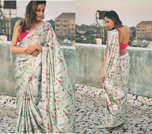 Light Sage Green Floral Printed Georgette Modern Sarees Online Shopping