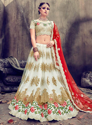 Off White Net A Line Wedding Lehengas India Shopping Online