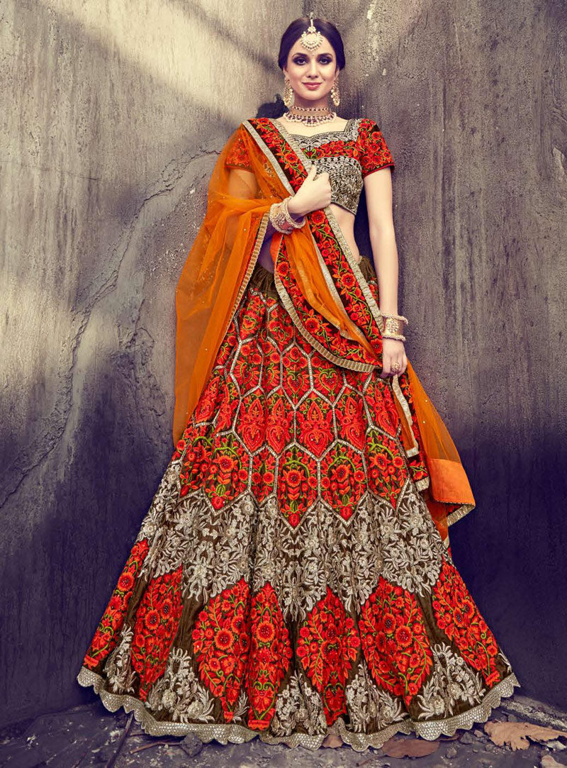 Orange Velvet Designer Lehenga For Wedding In India