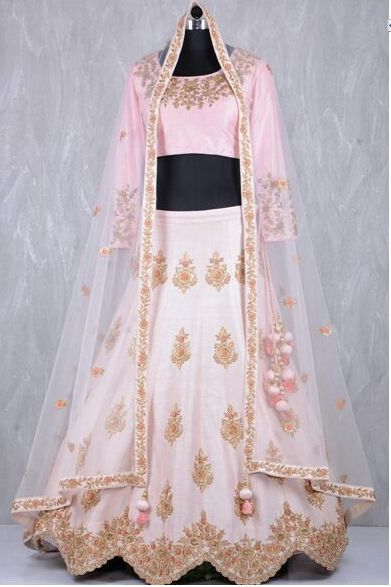 Ice Pink Malai Satin Lehenga Cholis Online Shopping
