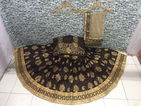 Brown Mulberry Silk Bollywood Lehenga Choli Online Shopping