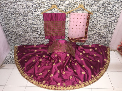 Mauve Malai Satin  Party Wear Lengha Choli Online Shopping