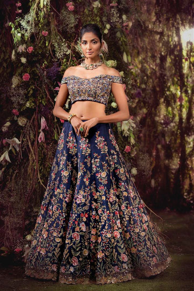 Carbon Blue Silk Designer Chaniya Choli For Wedding
