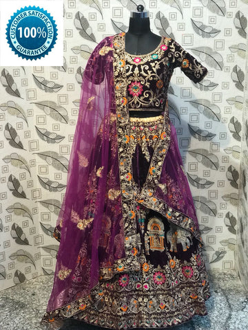 Deep Wine Velvet Latest Wedding Lehenga Choli Online