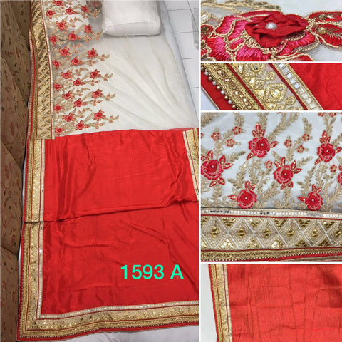 Red And Beige Bollywood Fashion Designer Saree