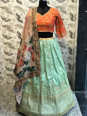 Mint Green Embroidered Silk New Party Wear Lehenga Choli Designs