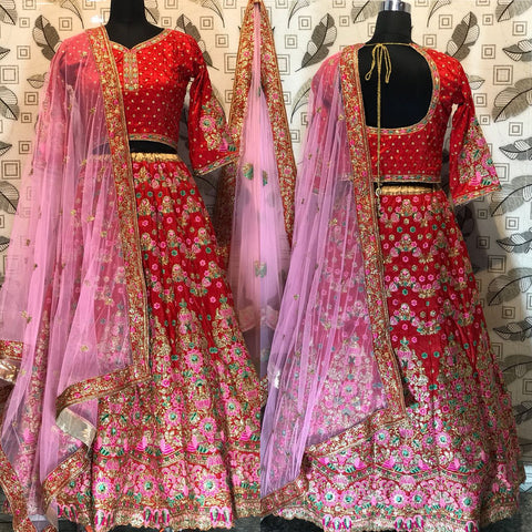 Red Embroidered Banarasi Silk Wedding Lehenga Choli Online Shopping