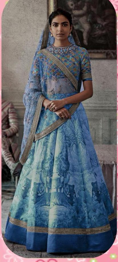Blue Silk Digital Print Work Designer Ghagra Choli For Wedding