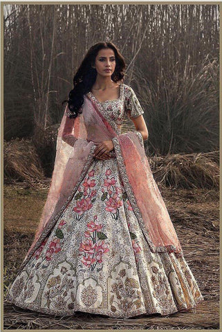 Off White Embroidered Banarasi Silk Party Lehenga Choli Designs
