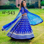 Blue Silk Embroidered New Fashion Lenghas Indian Choli Dresses