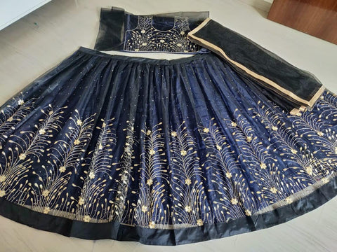 Dark Blue Tissue Net Embroidery Party Lehenga Choli Online