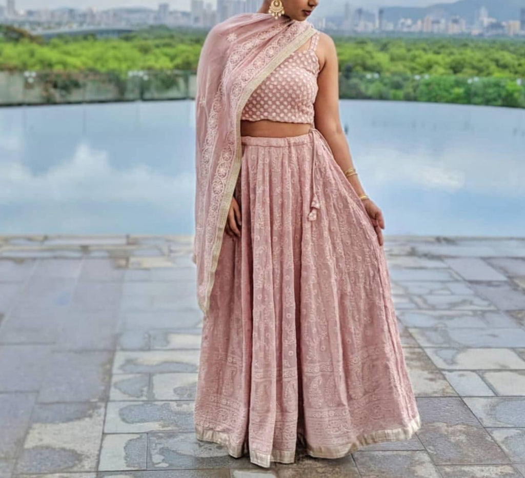 Misty Rose Georgette Embroidered Party Lehenga Blouse Online